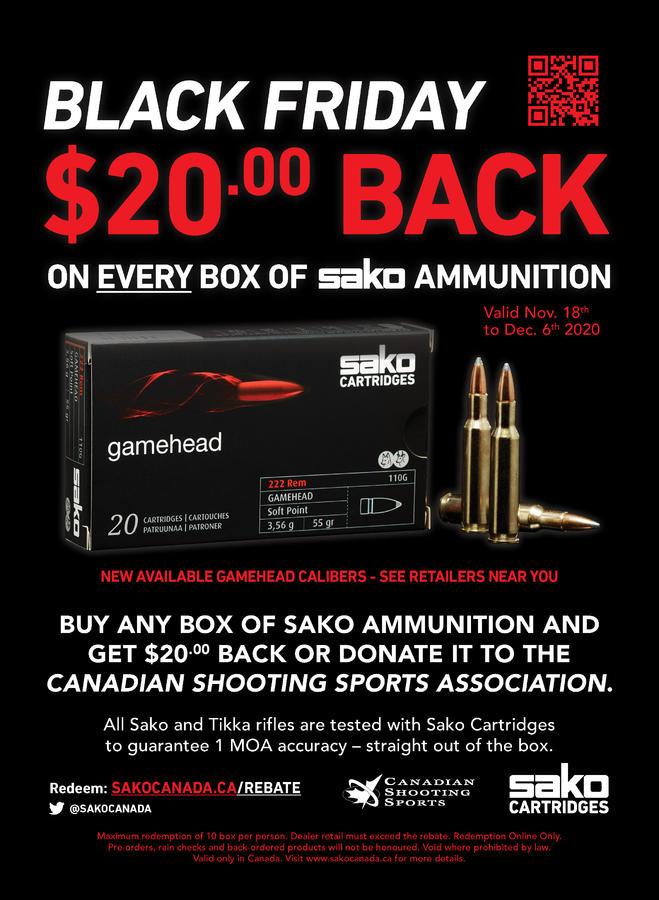 Name:  Sako Ammo Black Friday Promotional Poster 2020 - 20 Rebate.jpg Views: 2457 Size:  105.6 KB